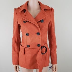Forever stunning orange belted trench pea coat S